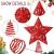 10 Zoll Glitzer Weihnachtsbaum Spitze Hohl Weihnachten Stern Baum Krone für Weihnachten Schmuck und Weihnachten Dekoration (Rot) - 2