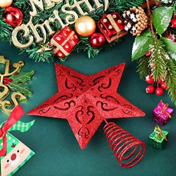 10 Zoll Glitzer Weihnachtsbaum Spitze Hohl Weihnachten Stern Baum Krone für Weihnachten Schmuck und Weihnachten Dekoration (Rot) - 5