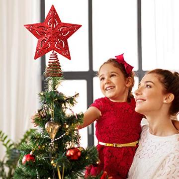 10 Zoll Glitzer Weihnachtsbaum Spitze Hohl Weihnachten Stern Baum Krone für Weihnachten Schmuck und Weihnachten Dekoration (Rot) - 6