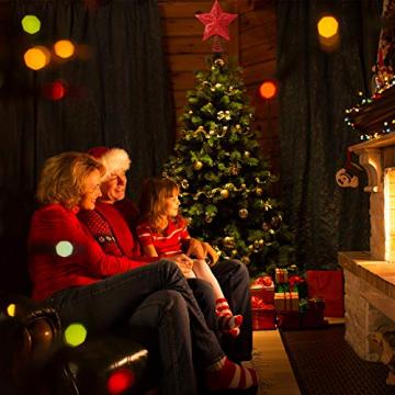 10 Zoll Glitzer Weihnachtsbaum Spitze Hohl Weihnachten Stern Baum Krone für Weihnachten Schmuck und Weihnachten Dekoration (Rot) - 7