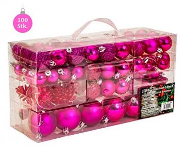 100 teiliges Set Weihnachtskugel Lamettini Lametta Anhänger Christbaumspitze (Pink) - 2