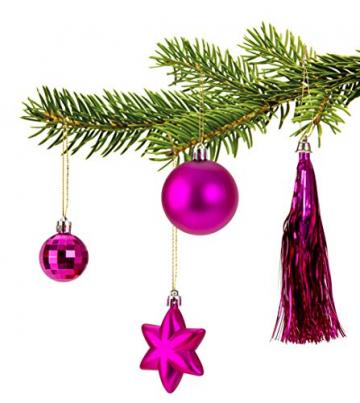 100 teiliges Set Weihnachtskugel Lamettini Lametta Anhänger Christbaumspitze (Pink) - 4