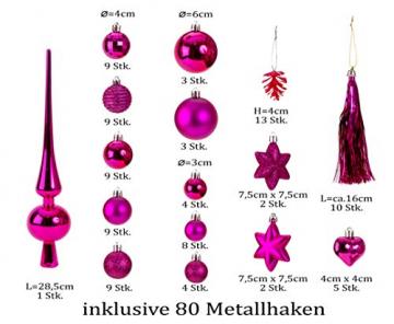 100 teiliges Set Weihnachtskugel Lamettini Lametta Anhänger Christbaumspitze (Pink) - 5