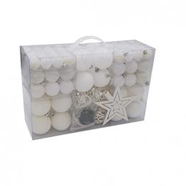 100 Weihnachtskugeln und Baumspitze Stern (Weiß) - 1