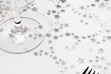100%Mosel Tischläufer Sterne, in Silber/Metallic (28 cm x 5 m), Tischband aus Organza, edle Tischdeko für Weihnachten & Adventszeit, Festliche Dekoration zu besonderen Anlässen - 2