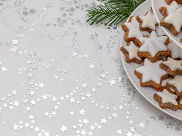 100%Mosel Tischläufer Sterne, in Silber/Metallic (28 cm x 5 m), Tischband aus Organza, edle Tischdeko für Weihnachten & Adventszeit, Festliche Dekoration zu besonderen Anlässen - 3