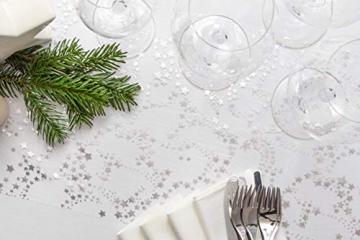 100%Mosel Tischläufer Sterne, in Silber/Metallic (28 cm x 5 m), Tischband aus Organza, edle Tischdeko für Weihnachten & Adventszeit, Festliche Dekoration zu besonderen Anlässen - 4