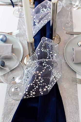 100%Mosel Tischläufer Sterne, in Silber/Metallic (28 cm x 5 m), Tischband aus Organza, edle Tischdeko für Weihnachten & Adventszeit, Festliche Dekoration zu besonderen Anlässen - 6