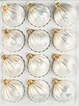 12 TLG. Glas-Weihnachtskugeln Set in 'Ice Weiss Gold' Regen- Christbaumkugeln - Weihnachtsschmuck-Christbaumschmuck - 1