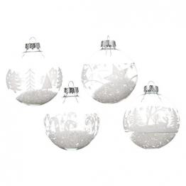 12 Weihnachtskugeln 8cm weiß Transparent Glas Set Christbaumkugeln Baumkugeln Baumschmuck Weihnachtsdeko Christbaumschmuck Kugeln - 1