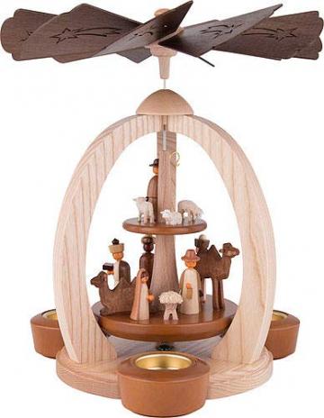 2-stöckige Weihnachtspyramide Christi Geburt Exklusiv - 28 cm - 100% Erzgebirge Pyramide - 1