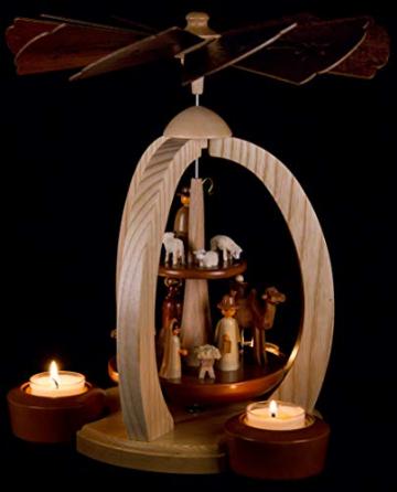 2-stöckige Weihnachtspyramide Christi Geburt Exklusiv - 28 cm - 100% Erzgebirge Pyramide - 5