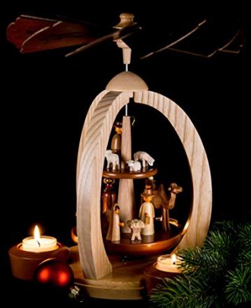 2-stöckige Weihnachtspyramide Christi Geburt Exklusiv - 28 cm - 100% Erzgebirge Pyramide - 6