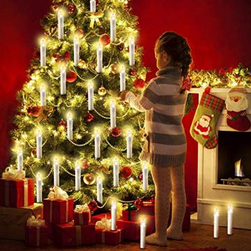 20/30/40/50/60 stk LED Kerzen LED Lichterkette Kabellos Dimmbar Kerzenlichter Flammenlose Weihnachtskerzen für Weihnachtsbaum, Weihnachtsdeko, Hochzeit, Geburtstags, Party (milchweisse Hülle, 30stk) - 3
