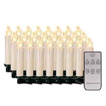 20/30/40/50/60 stk LED Kerzen LED Lichterkette Kabellos Dimmbar Kerzenlichter Flammenlose Weihnachtskerzen für Weihnachtsbaum, Weihnachtsdeko, Hochzeit, Geburtstags, Party (milchweisse Hülle, 30stk) - 1