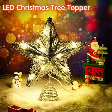 20 Licht 10 Zoll Weihnachten Baum Spitze LED Sternförmige Baum Spitze mit Warm Weißen LED Leuchten für Weihnachten Urlaub Saison Dekor (Silber) - 2