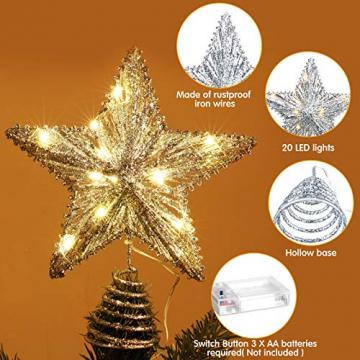 20 Licht 10 Zoll Weihnachten Baum Spitze LED Sternförmige Baum Spitze mit Warm Weißen LED Leuchten für Weihnachten Urlaub Saison Dekor (Silber) - 3
