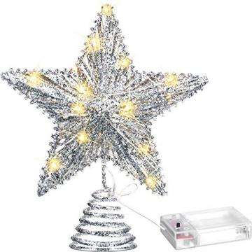 20 Licht 10 Zoll Weihnachten Baum Spitze LED Sternförmige Baum Spitze mit Warm Weißen LED Leuchten für Weihnachten Urlaub Saison Dekor (Silber) - 1