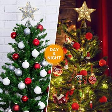 20 Licht 10 Zoll Weihnachten Baum Spitze LED Sternförmige Baum Spitze mit Warm Weißen LED Leuchten für Weihnachten Urlaub Saison Dekor (Silber) - 5
