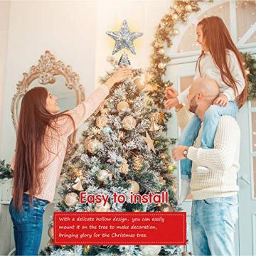 20 Licht 10 Zoll Weihnachten Baum Spitze LED Sternförmige Baum Spitze mit Warm Weißen LED Leuchten für Weihnachten Urlaub Saison Dekor (Silber) - 6