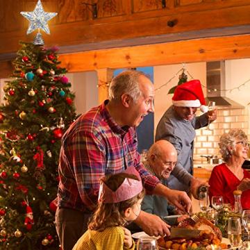 20 Licht 10 Zoll Weihnachten Baum Spitze LED Sternförmige Baum Spitze mit Warm Weißen LED Leuchten für Weihnachten Urlaub Saison Dekor (Silber) - 7