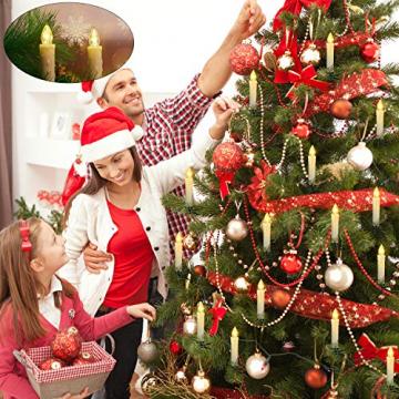 20 Stück LED Kerzen mit Fernbedienung Timer IP64 Dimmbar Warmweiß Weihnachtskerzen Lichterkette, Flackern Christbaumkerzen Kabellos für Weihnachtsbaum Hochzeit Geburtstags Deko(Mit 22 Batterien) - 3