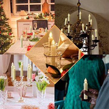 20 Stück LED Kerzen mit Fernbedienung Timer IP64 Dimmbar Warmweiß Weihnachtskerzen Lichterkette, Flackern Christbaumkerzen Kabellos für Weihnachtsbaum Hochzeit Geburtstags Deko(Mit 22 Batterien) - 4