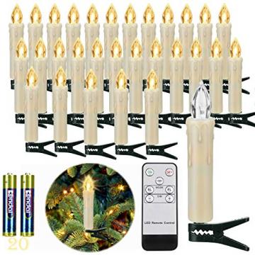 20 Stück LED Kerzen mit Fernbedienung Timer IP64 Dimmbar Warmweiß Weihnachtskerzen Lichterkette, Flackern Christbaumkerzen Kabellos für Weihnachtsbaum Hochzeit Geburtstags Deko(Mit 22 Batterien) - 1