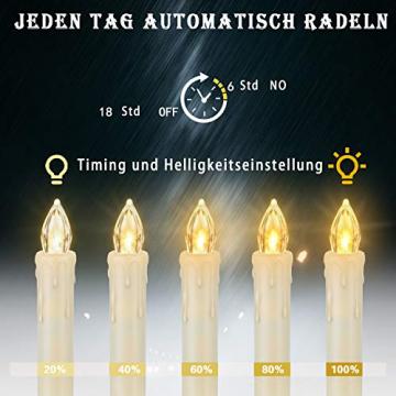 20 Stück LED Kerzen mit Fernbedienung Timer IP64 Dimmbar Warmweiß Weihnachtskerzen Lichterkette, Flackern Christbaumkerzen Kabellos für Weihnachtsbaum Hochzeit Geburtstags Deko(Mit 22 Batterien) - 5
