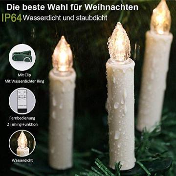 20 Stück LED Kerzen mit Fernbedienung Timer IP64 Dimmbar Warmweiß Weihnachtskerzen Lichterkette, Flackern Christbaumkerzen Kabellos für Weihnachtsbaum Hochzeit Geburtstags Deko(Mit 22 Batterien) - 6