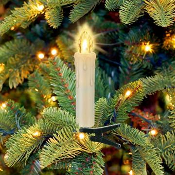 20 Stück LED Kerzen mit Fernbedienung Timer IP64 Dimmbar Warmweiß Weihnachtskerzen Lichterkette, Flackern Christbaumkerzen Kabellos für Weihnachtsbaum Hochzeit Geburtstags Deko(Mit 22 Batterien) - 8