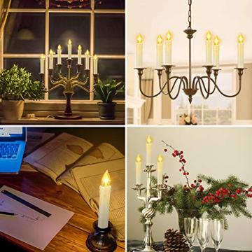 20 Stück LED Kerzen mit Fernbedienung Timer IP64 Dimmbar Warmweiß Weihnachtskerzen Lichterkette, Flackern Christbaumkerzen Kabellos für Weihnachtsbaum Hochzeit Geburtstags Deko(Mit 22 Batterien) - 9