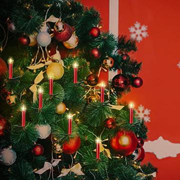 20er Rot LED Kerzen LichterketteKerzen Weihnachtskerzen Weihnachtsbaum Kerzen Kabellos mit Fernbedienung Timer Flackern, Außen-Innen, für Weihnachten Hochzeit Geburtstags Party(Mit 22 Batterien) - 2