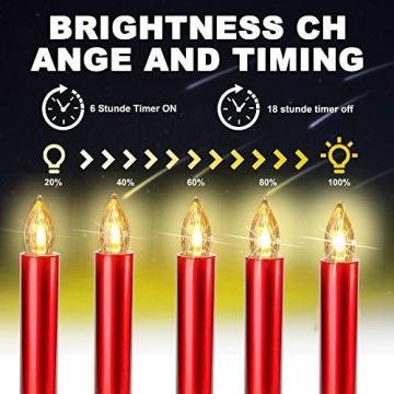 20er Rot LED Kerzen LichterketteKerzen Weihnachtskerzen Weihnachtsbaum Kerzen Kabellos mit Fernbedienung Timer Flackern, Außen-Innen, für Weihnachten Hochzeit Geburtstags Party(Mit 22 Batterien) - 3