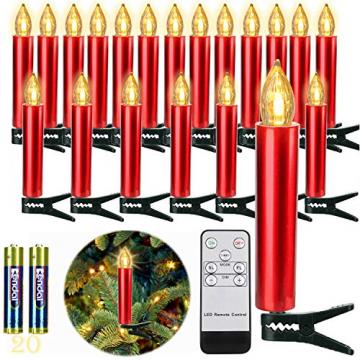 20er Rot LED Kerzen LichterketteKerzen Weihnachtskerzen Weihnachtsbaum Kerzen Kabellos mit Fernbedienung Timer Flackern, Außen-Innen, für Weihnachten Hochzeit Geburtstags Party(Mit 22 Batterien) - 1