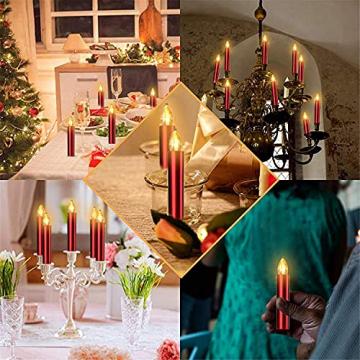 20er Rot LED Kerzen LichterketteKerzen Weihnachtskerzen Weihnachtsbaum Kerzen Kabellos mit Fernbedienung Timer Flackern, Außen-Innen, für Weihnachten Hochzeit Geburtstags Party(Mit 22 Batterien) - 6