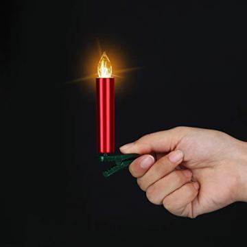 20er Rot LED Kerzen LichterketteKerzen Weihnachtskerzen Weihnachtsbaum Kerzen Kabellos mit Fernbedienung Timer Flackern, Außen-Innen, für Weihnachten Hochzeit Geburtstags Party(Mit 22 Batterien) - 8