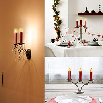 20er Rot LED Kerzen LichterketteKerzen Weihnachtskerzen Weihnachtsbaum Kerzen Kabellos mit Fernbedienung Timer Flackern, Außen-Innen, für Weihnachten Hochzeit Geburtstags Party(Mit 22 Batterien) - 9