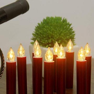 20er Rot LED Kerzen LichterketteKerzen Weihnachtskerzen Weihnachtsbaum Kerzen Kabellos mit Fernbedienung Timer Flackern, Außen-Innen, für Weihnachten Hochzeit Geburtstags Party(Mit 22 Batterien) - 10