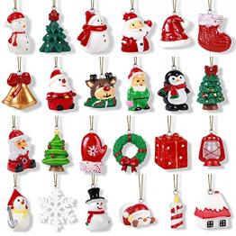 24Stk. Weihnachtsbaumschmuck Weihnachtsanhänger Miniatur Baumschmuck Weihnachten Schneemann Weihnachtsmann Rentier hängend Weihnachtsornamente für Weihnachten Dekoration Adventskalender zum Befüllen - 1