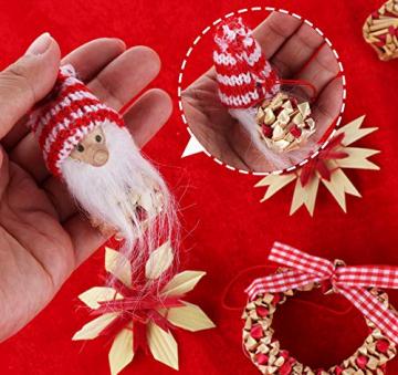 26-teiliges Weihnachtsanhänger aus Stroh - Handgemacht Gemischter Stroh Weihnachtsbaumschmuck aus natürlichem Material, Stroh Christbaum Anhänger Weihnachtsanhänger in verschiedenen Varianten - 5