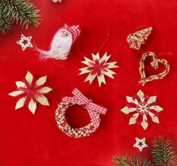 26-teiliges Weihnachtsanhänger aus Stroh - Handgemacht Gemischter Stroh Weihnachtsbaumschmuck aus natürlichem Material, Stroh Christbaum Anhänger Weihnachtsanhänger in verschiedenen Varianten - 6