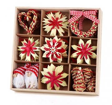 26-teiliges Weihnachtsanhänger aus Stroh - Handgemacht Gemischter Stroh Weihnachtsbaumschmuck aus natürlichem Material, Stroh Christbaum Anhänger Weihnachtsanhänger in verschiedenen Varianten - 7