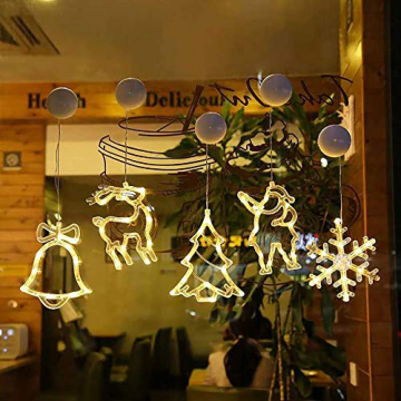 2pcs Saugnapf Lichterkette,Saugnapf Lichterkette Fenster, Sauger Lichterkette,Saugnapf Lichterkette Weihnachten,Led Saugnapf Weihnachten,Saugnapf Led Deko (Xmas Set A) - 3