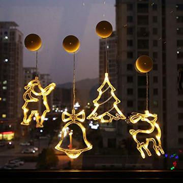 2pcs Saugnapf Lichterkette,Saugnapf Lichterkette Fenster, Sauger Lichterkette,Saugnapf Lichterkette Weihnachten,Led Saugnapf Weihnachten,Saugnapf Led Deko (Xmas Set A) - 1