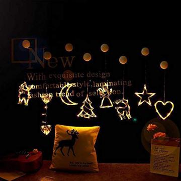 2pcs Saugnapf Lichterkette,Saugnapf Lichterkette Fenster, Sauger Lichterkette,Saugnapf Lichterkette Weihnachten,Led Saugnapf Weihnachten,Saugnapf Led Deko (Xmas Set A) - 5