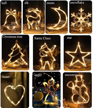 2pcs Saugnapf Lichterkette,Saugnapf Lichterkette Fenster, Sauger Lichterkette,Saugnapf Lichterkette Weihnachten,Led Saugnapf Weihnachten,Saugnapf Led Deko (Xmas Set A) - 6