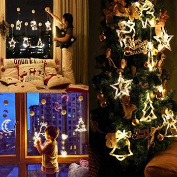 2pcs Saugnapf Lichterkette,Saugnapf Lichterkette Fenster, Sauger Lichterkette,Saugnapf Lichterkette Weihnachten,Led Saugnapf Weihnachten,Saugnapf Led Deko (Xmas Set A) - 7
