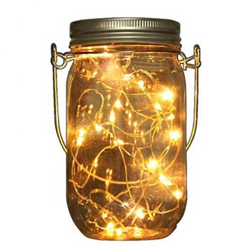2x LED Solarglas - LED Solar Einwegglas aus Echtglas mit 20 LEDs warmweiß inkl. Akku - 2 Gläser im Set Gartenlampe Solarlampe Solar-Laterne (2x Solarglas) - 3