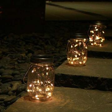 2x LED Solarglas - LED Solar Einwegglas aus Echtglas mit 20 LEDs warmweiß inkl. Akku - 2 Gläser im Set Gartenlampe Solarlampe Solar-Laterne (2x Solarglas) - 6